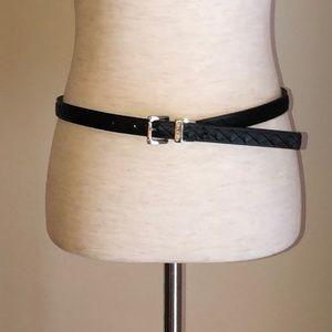 Michael Kors logo reversible belt black/silver L.